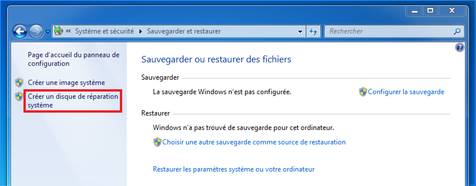 Cr er un disque de r paration de windows 7 geek on web for Ouvrir fenetre dos windows 7