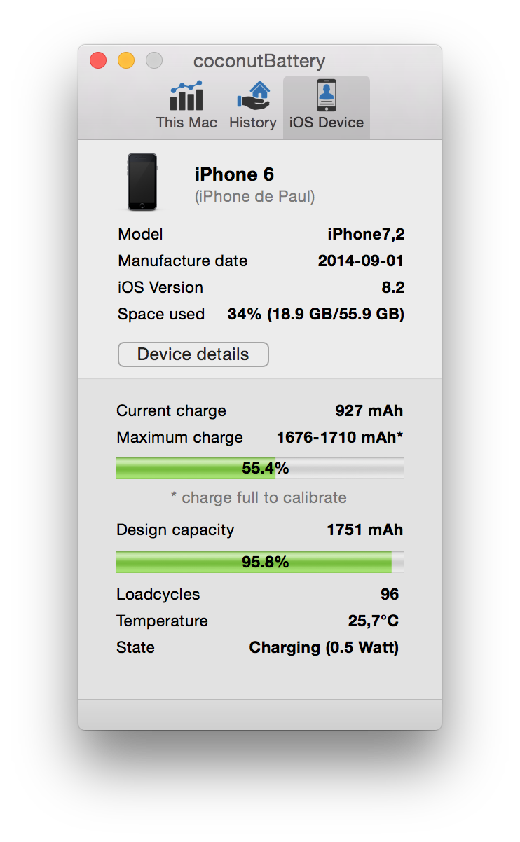 iPhone 6 coconutBattery
