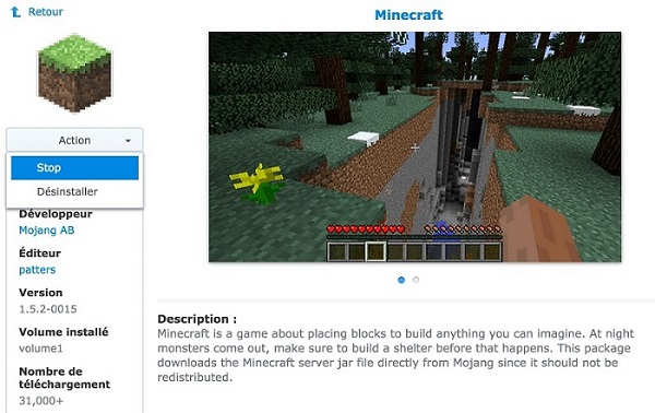 minecraft-synology-arret