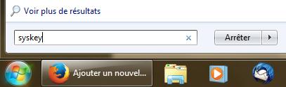 Recherche syskey Windows 7