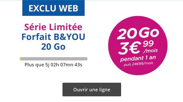[MàJ] Bouygues propose un forfait avec 20Go de DATA à 3,99€/mois pendant un an