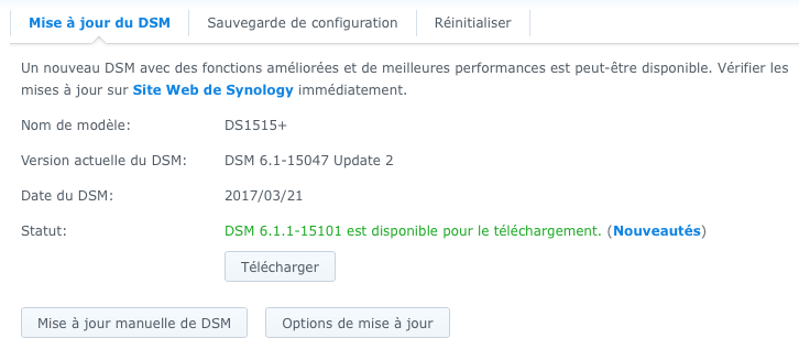 Comment downgrader un NAS Synology de DSM 6.1.1 Update 2 à DSM 6.1