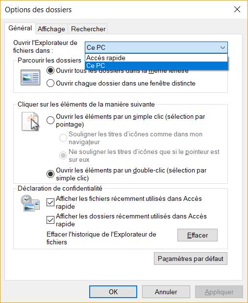 Windows 10 ouvrir l explorateur directement sur ce pc for Fenetre explorateur windows 7
