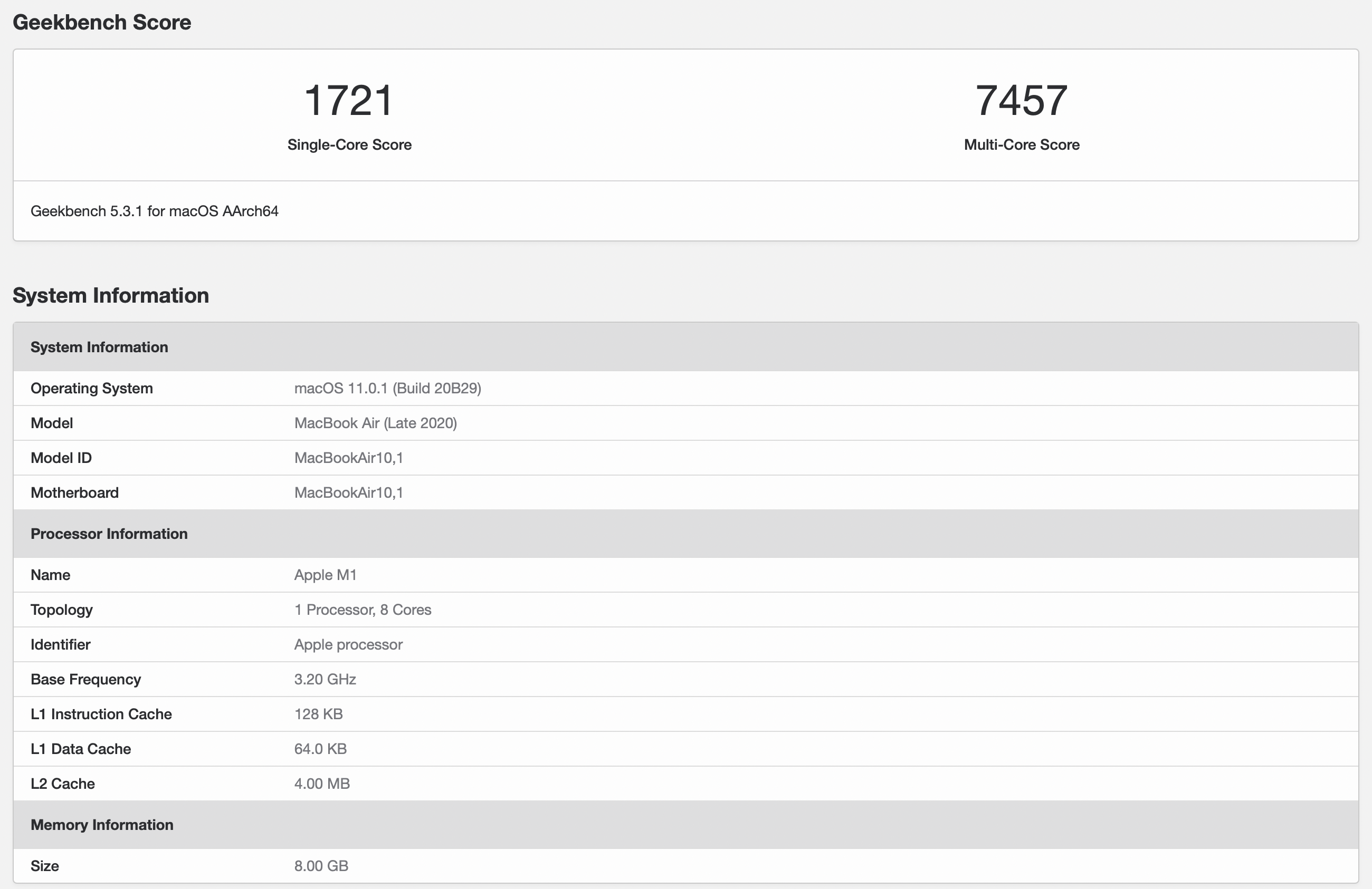 Geekbench macbook air m1 2020